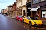 And   Dirty Day: Lamborghini Gallardo SE and Honda NSX on Rundle St