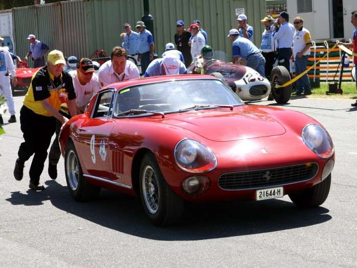 Broken Down Ferrari 275 being pushed