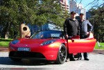 Rhd   Tesla Roadster Sport - Delivery to Simon Hackett: Simon Hackett with his new RHD Tesla Roadster Sport