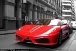 Street   Exotic Spotting in Melbourne: Ferrari 430 Scuderia - front left 3 (Melbourne, Vic, 27 Nov 09)BW