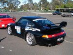 And   Dutton Rally 2007 - Sandown, Victoria: Porsche 993 RS - black rear left (Dutton Rally 07, Sandown, Vic, 2 Sept 07)