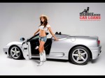 Girl   Public: Hot brunette in cowboy hat and boots with Ferrari 360 Spider