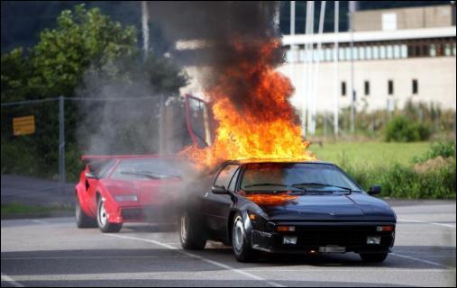 Lamborghini Jalpa fire
