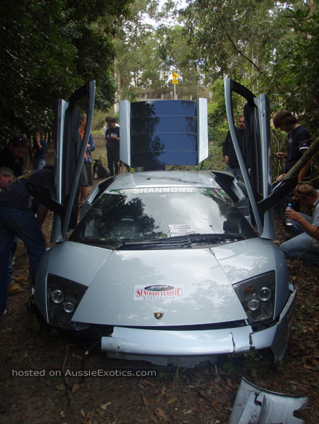 lamborghini murcielago crash at suncoast rally in queensland