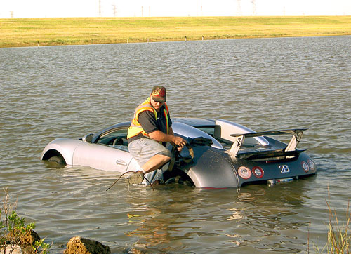 Bugatti Veyron Crash Lake Submerged Water